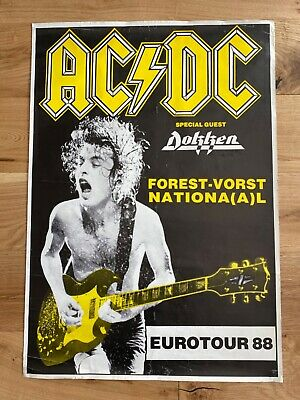 AC/DC Forest Vorst National EUROTOUR 1988 Concert POSTER 34  X 24  Angus Young • 45£