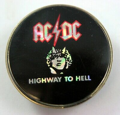 AC/DC 'Highway To Hell' Vintage Prismatic Crystal Lapel Badge • 3.95£