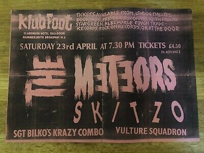 The Meteors 80's Original Gig Posters Klub Foot Rockabilly Psychobilly • 28£