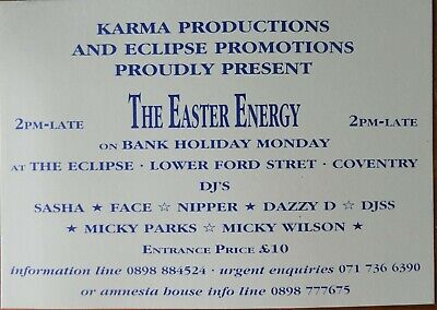 RARE The Easter Energy Eclipse Acid House Rave Flyer • 6.50£