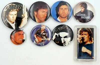 GEORGE MICHAEL BADGES 8 X Vintage Pin Badges * WHAM! * • 2.95£