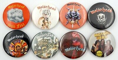 MOTORHEAD BUTTON BADGES 8 X Vintage Motorhead Pin Badges * Lemmy * Warpig * • 3.20£
