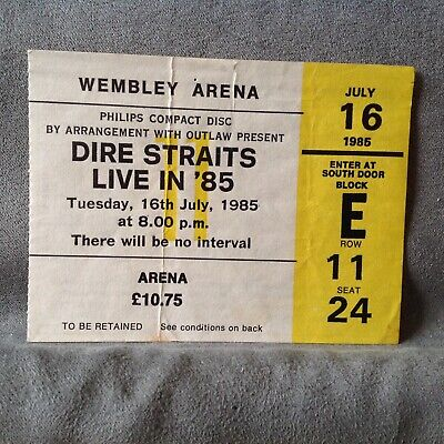 Dire Straits Live In 85 At Wembley Arena 1985 Ticket Stub • 3£