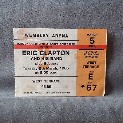 Eric Clapton And His Band Ticket Stub 1985 Wemley Arena • 2.20£