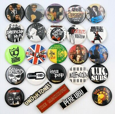 PUNK & NEW WAVE BADGES 25 X Vintage Pin Badges * Dead Kennedys * The Damned * • 3.95£