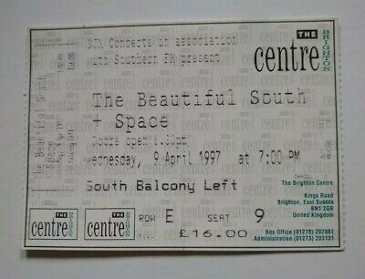 The Beautiful South / Space  UK Tour 1997 Gig Ticket Stub Brighton Support  • 7£