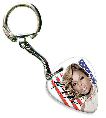 Mary J. Blige Celluloid Guitar Plectrum Keychain -  Flag Design • 5.69£