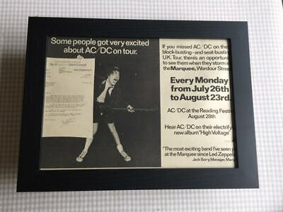 AC/DC Marquee Gigs + Reading Festival 1976     Framed  A4 Advert • 32.50£