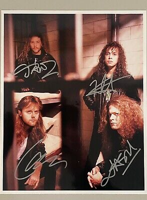 Fully Signed Metallica Photo With COA - 4 Members - James, Kirk, Lars, Jason • 350£