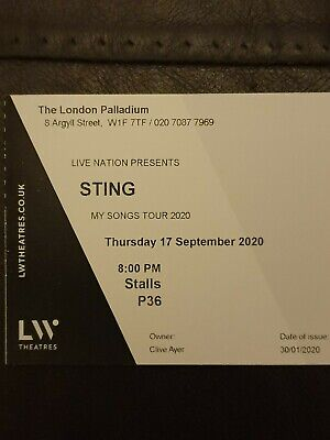STING London Palladium 17.09.2020... 2 X STALLS. To Hand. SOLD OUT RESCHEDULED  • 349£