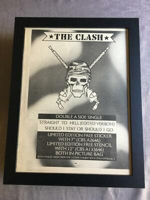 The Clash Should I Stay / Straight To Hell 1982 Framed Advert / Ad  18  X 14  • 50£