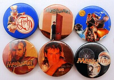 MARILLION AND FISH BUTTON BADGES 6 X Vintage Marillion Pin Badges • 2.95£