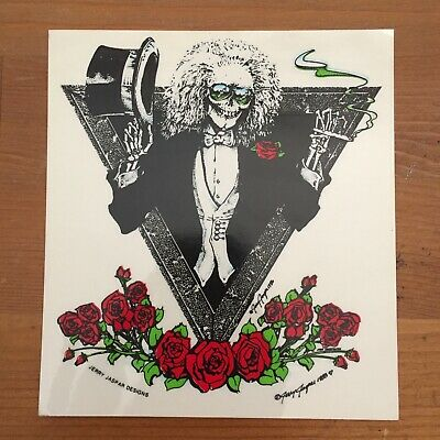 Vintage Jerry Jasper Deadheads Skeleton Top Hat Decal Sticker Grateful Dead 88 • 18.89£