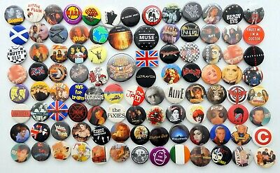 MIXED PIN BADGES 100 X Mostly Rock, Pop & Punk Music Badges * ALL SECONDS * • 4.20£