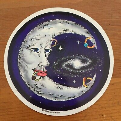 Vintage Jerry Jasper Deadhead Decal Sticker Pierced Moon Face +Space  Galaxy 97' • 14.07£