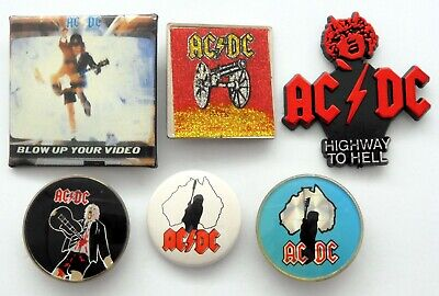 AC/DC BADGES 6 X Vintage AC/DC Pin Badges * Highway To Hell * Angus Young * • 4.15£