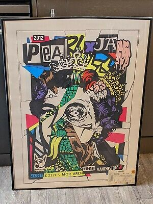 Pearl Jam 2012 'Queen' Manchester UK Poster By Ames Bros + Event Ticket • 140£