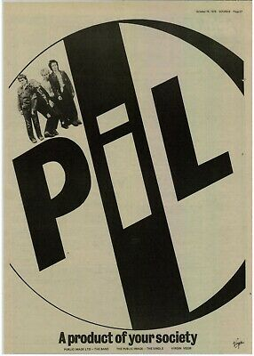 Public Image LTD A Product Of Your Society  A3 Laminated Original Advert UK 1978 • 6£