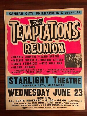 Vintage TEMPTATIONS REUNION Boxing Style Concert Poster DENNIS EDWARDS RUFFIN    • 178.49£