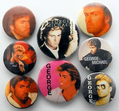 GEORGE MICHAEL BUTTON BADGES 8 X Vintage George Michael Pin Badges * WHAM! * • 2.95£