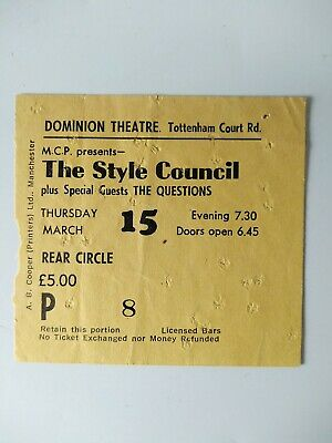 THE STYLE COUNCIL Ticket Stub - DOMINION THEATRE - 15th March 1984 • 0.99£