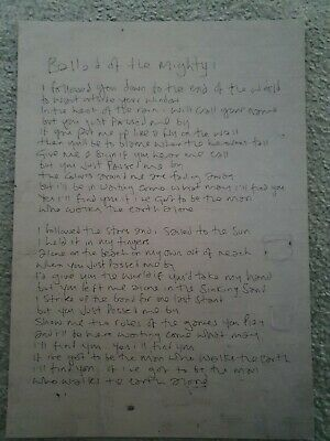 NOEL GALLAGHER - Printed Replica Working Lyrics - ' Ballad Of The Mighty I ' • 20£