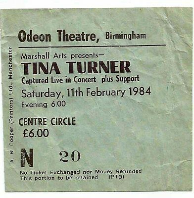 Tina Turner Used Concert Ticket 1984 Birmingham  • 15£
