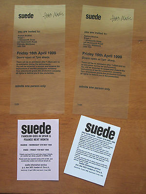 Suede - Un Used Rare 1999 London Fan Club Gig Concert Tickets 16.4.1999  • 30£