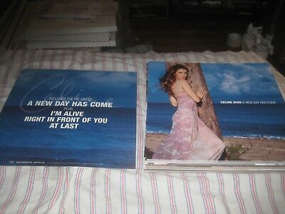 CELINE DION-(a New Day Has Come)-1 POSTER FLAT-2 SIDED-12X12 INCHES-NMINT-RARE!! • 9.98£