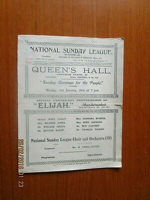 1909 Natonal Sunday League Queens Hall London Elijah Programme • 7£