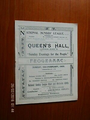 1900 National Sunday League Queens Hall London   Programme • 8£