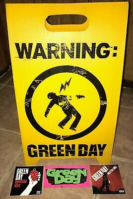 Green Day WARNING Promo Floor Sign & 3 Promo Stickers (2000) RARE EXC NM COND • 29.60£