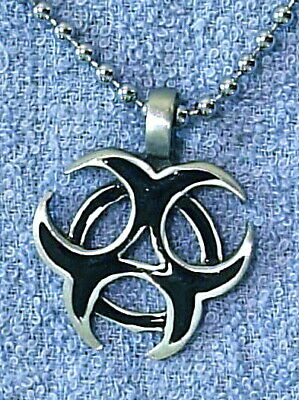 BIO HAZARD SYMBOL BLACK ENAMEL PENDANT 35mm = PC0016 • 6£