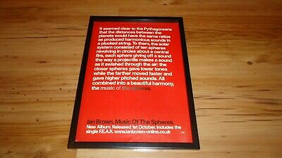 IAN BROWN Music Of The Spheres-framed Original Press Release Promo Advert • 12£