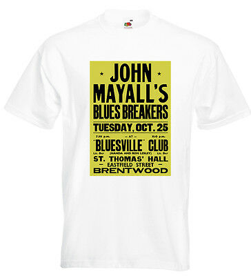 John Mayall Concert Poster T Shirt Bluesbreakers Eric Clapton Peter Green BLUES • 14.95£