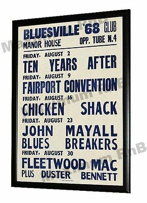 John Mayalls Bluesbreakers Concert Poster Bluesville Club Manor House London '68 • 9.95£