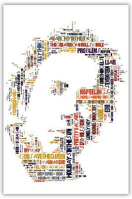 Johnny Rotten John Lydon Sex Pistols Typography Poster Or Canvas Song Titles • 34£
