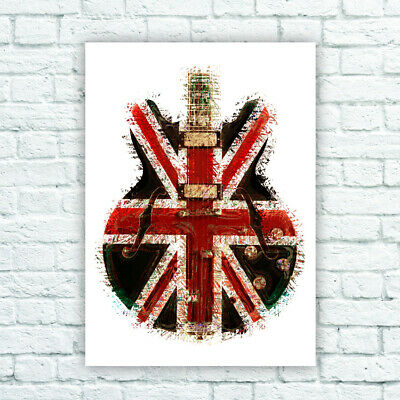 Oasis Distressed Union Flag Guitar Poster Noel Gallager 3 Sizes • 14.95£