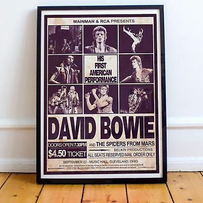 David Bowie 1972 First American Concert Three Print Options Or Framed Poster NEW • 34.99£