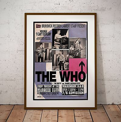 The Who 1965 At The Marquee Club Concert Three Print Option Or Framed Poster NEW • 11.99£