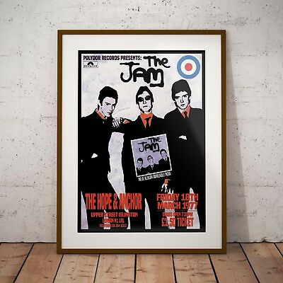 The Jam 1977 'Hope & Anchor Gig' Three Print Options Or Framed Poster EXCLUSIVE • 16.99£