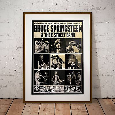 Springsteen 1975 First Ever London Concert Three Print Options Or Framed Poster • 39.99£