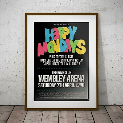 Happy Mondays 1990 Early Concert Poster Framed Or 3 Print Options NEW EXCLUSIVE • 16.99£