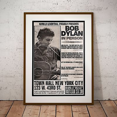Bob Dylan 1963 NYC First Major Concert Three Print Options Or Framed Poster NEW • 39.99£