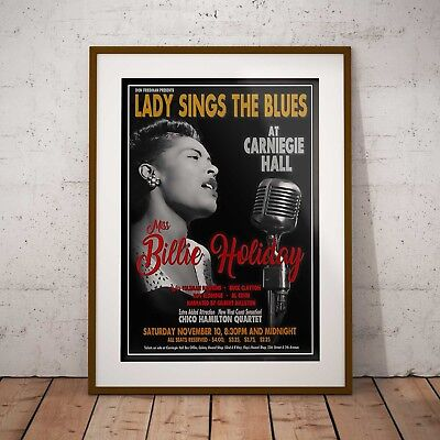 Billie Holiday - Carniegie Hall Poster Three Print Or Two Frame Options NEW 2020 • 11.99£