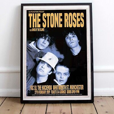 The Stone Roses 1989 Early Concert Poster Three Print Options Or Framed Poster • 16.99£