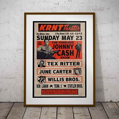 Johnny Cash KRNT Theater 1966 Concert Poster Framed Or 3 Print Options NEW EXCL. • 32.99£