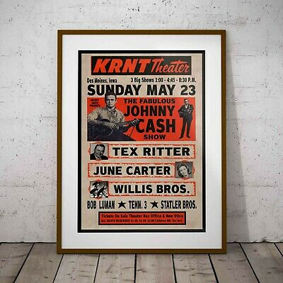 Johnny Cash KRNT Theater 1966 Concert Poster Framed Or 3 Print Options NEW EXCL. • 34.99£