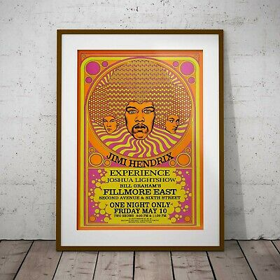 Jimi Hendrix Concert Poster Framed Or 3 Print Option EXCLUSIVE 2020 • 39.99£