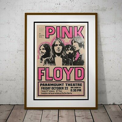 Pink Floyd 1971 Seattle USA Concert Poster Framed Or Three Print Options NEW • 39.99£